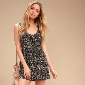 Obey | 'Chase' Black Floral Cut Out Back Dress